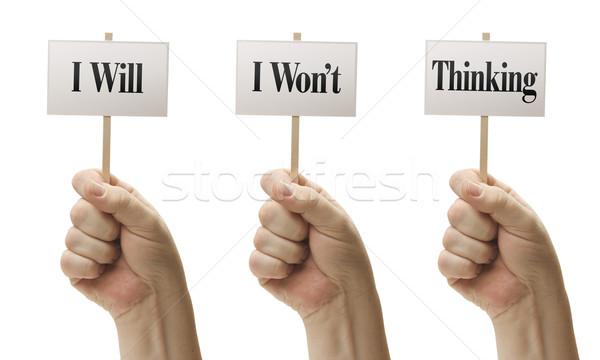 Três sinais provérbio pensando masculino isolado Foto stock © feverpitch