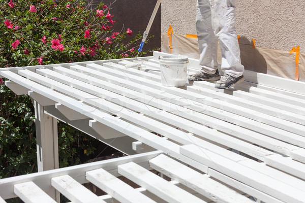 Professional Painter Rolling White Paint Onto The Top of A Home  Stock photo © feverpitch