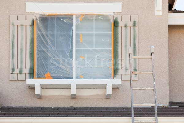 Construction Ladder Leaning Up Against A House Being Painted Stock photo © feverpitch