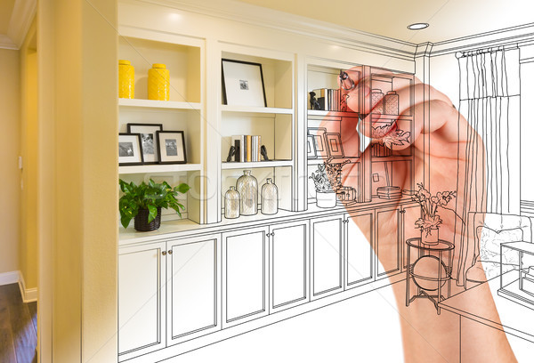 Hand Drawing Home Built-in Shelves and Cabinets with Photo Cross Stock photo © feverpitch