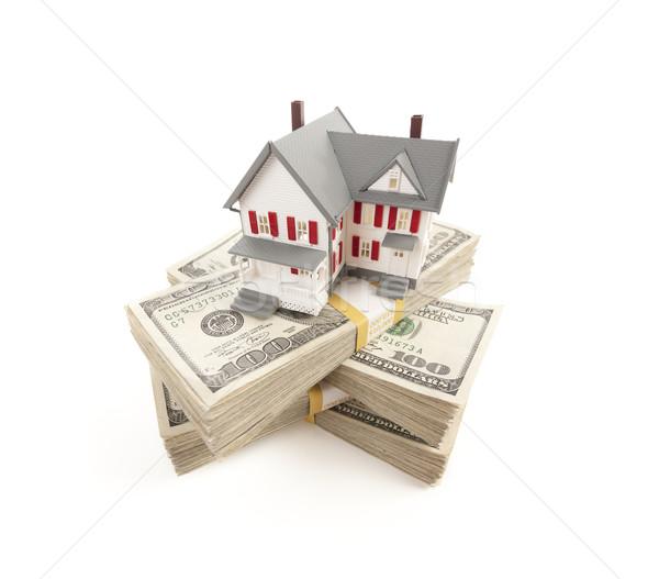 Klein huis honderd geïsoleerd witte Stockfoto © feverpitch