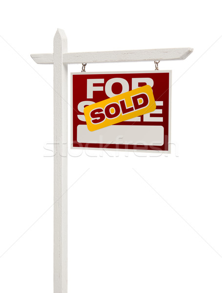 Sold For Sale Real Estate Sign Isolated - Right Stock photo © feverpitch