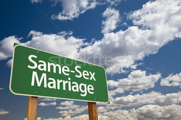 Same-Sex Marriage Green Road Sign and Clouds Stock photo © feverpitch