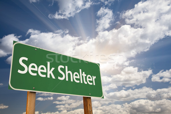 Seek Shelter Green Road Sign Stock photo © feverpitch