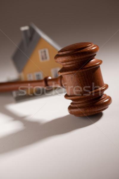 Marteau modèle maison mise au point sélective droit immobilier Photo stock © feverpitch