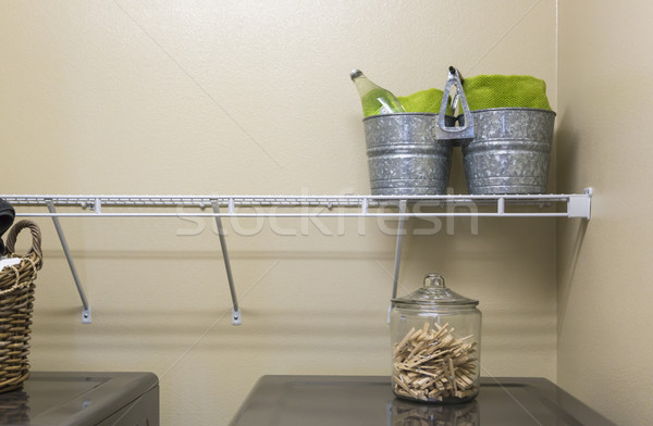 Laundry Room with Buckets and Jar of Clothes Pins Stock photo © feverpitch