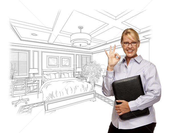 Woman with Okay Sign Over Bedroom Design Drawing Stock photo © feverpitch
