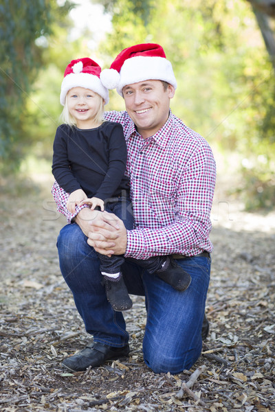 ストックフォト: 肖像 · 父 · 娘 · 着用 · サンタクロース