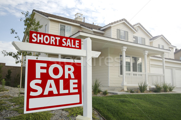 Short Sale Home For Sale Sign and House - Left Stock photo © feverpitch