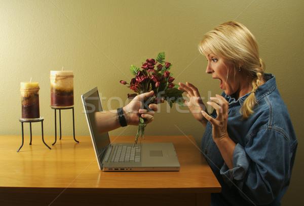 Foto stock: Glória · internet · namoro · mulher · atraente · flor · laptop