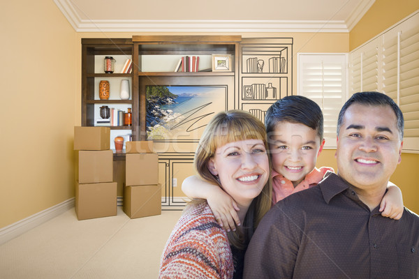 Mixed Race Family In Room With Drawing of Entertainment Unit Stock photo © feverpitch