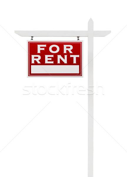 Szemben bérlés ingatlan felirat izolált fehér Stock fotó © feverpitch