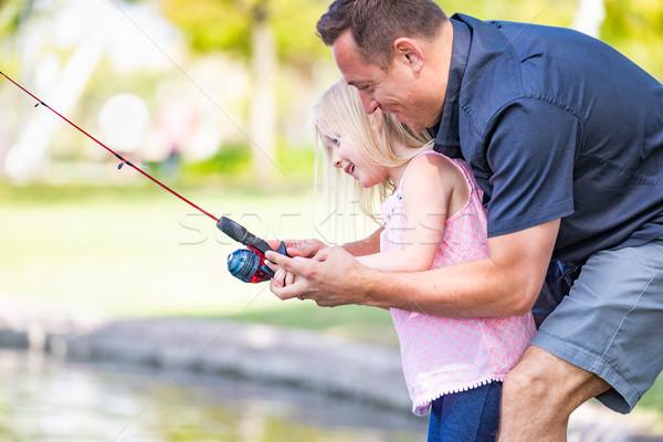 Jonge kaukasisch vader dochter vissen Stockfoto © feverpitch