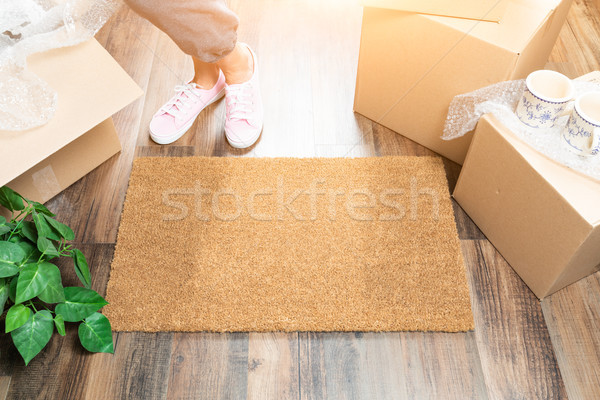 Woman in Pink Shoes and Sweats Standing Near Home Sweet Home Wel Stock photo © feverpitch