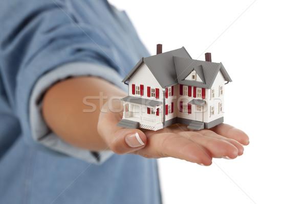 Zdjęcia stock: Domu · kobiet · strony · biały · model · odizolowany