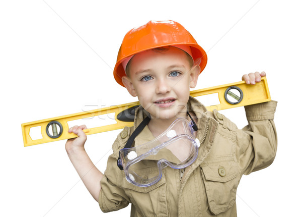 Child Boy with Level Playing Handyman Outside Isolated Stock photo © feverpitch