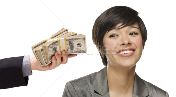 Mixed Race Young Woman Being Handed Thousands of Dollars Stock photo © feverpitch