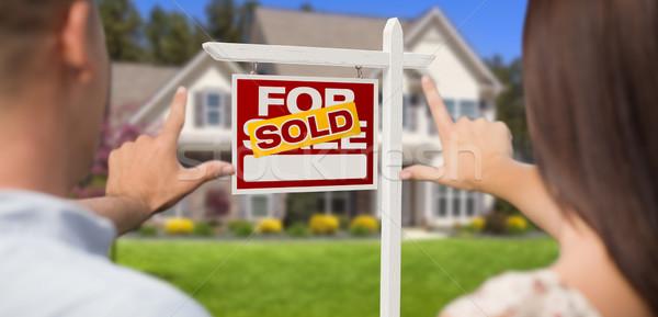 Eladva vásár felirat ház katonaság pár Stock fotó © feverpitch