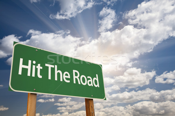 Hit The Road Green Road Sign Stock photo © feverpitch