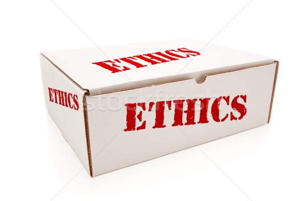 Witte vak ethiek geïsoleerd woord papier Stockfoto © feverpitch