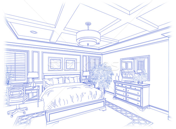 Stock fotó: Kék · vám · hálószoba · terv · rajz · fehér