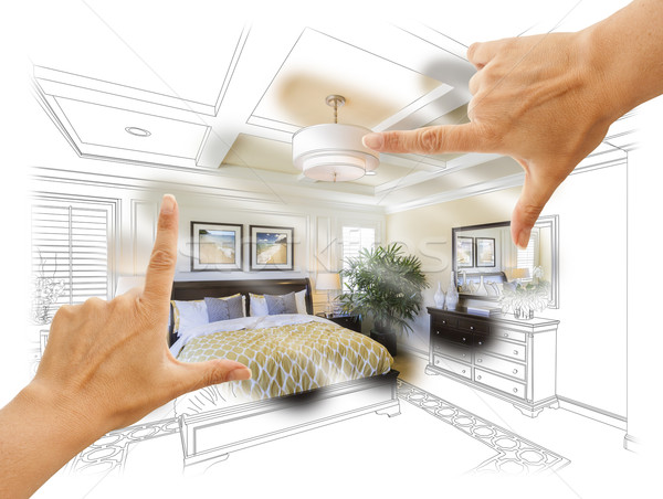 Hands Framing Custom Bedroom Drawing Photograph Combination Stock photo © feverpitch