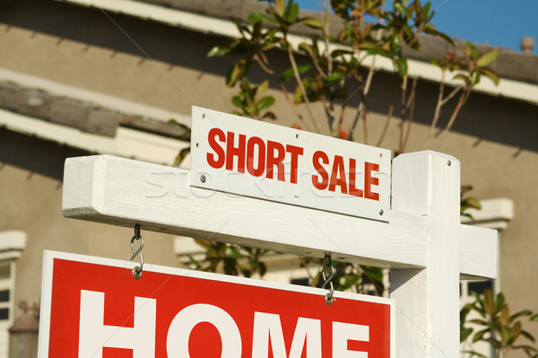 Short Sale Real Estate Sign & New Home Stock photo © feverpitch