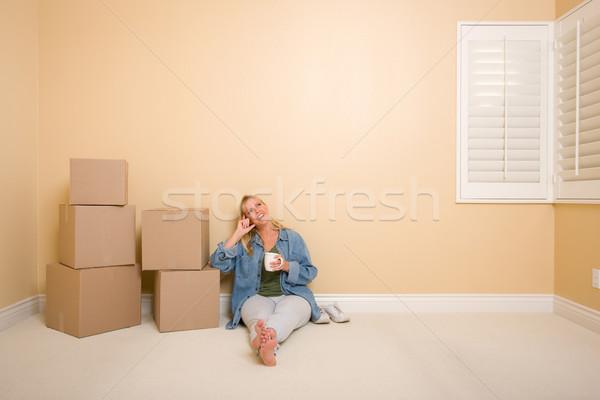 幸せ 女性 リラックス ボックス 階 カップ ストックフォト © feverpitch