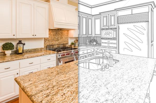Stockfoto: Scherm · tekening · foto · nieuwe · keuken · mooie