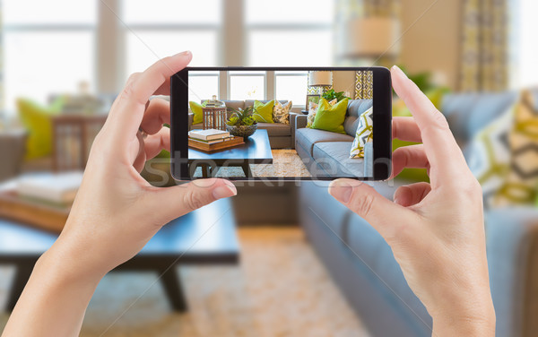 Female Hands Holding Smart Phone Displaying Photo of House Inter Stock photo © feverpitch
