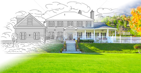 House Blueprint Drawing Gradating Into Completed Photograph. Stock photo © feverpitch
