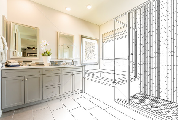 Custom Master Bathroom Design Drawing Gradating to Finished Phot Stock photo © feverpitch