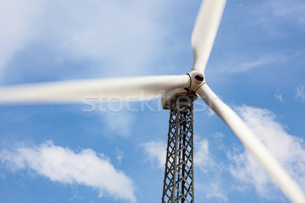 Single Wind Turbine Over Dramatic Blue Sky Stock photo © feverpitch