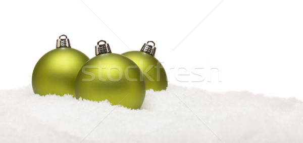 Zielone christmas ozdoby śniegu odizolowany Zdjęcia stock © feverpitch