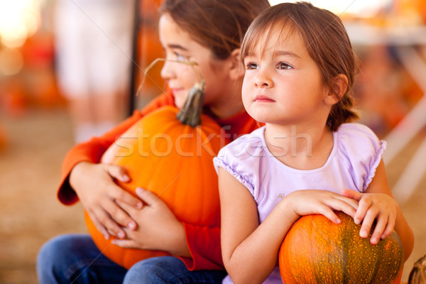 Cute Little Girls Holding Their Pumpkins At A Pumpkin Patch Stock photo © feverpitch