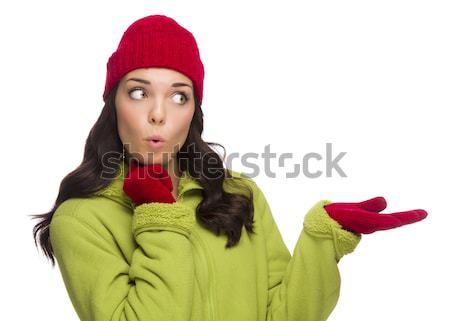 Chilly Mixed Race Woman Wearing Winter Hat and Gloves Stock photo © feverpitch