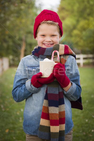 Stockfoto: Warme · kleding · hot · mok · buiten