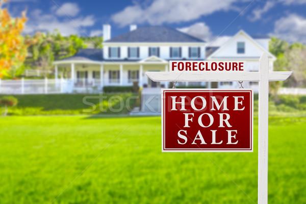 Zálogjog érvényesítése otthon vásár felirat nagy ház Stock fotó © feverpitch