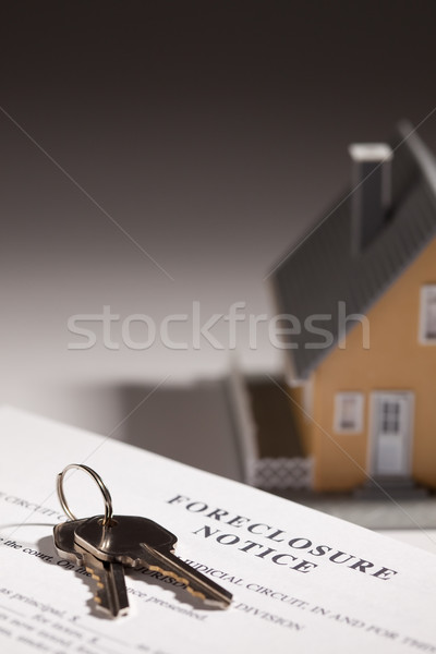 Foreclosure Notice, House Keys and Model Home on Gradated Backgr Stock photo © feverpitch