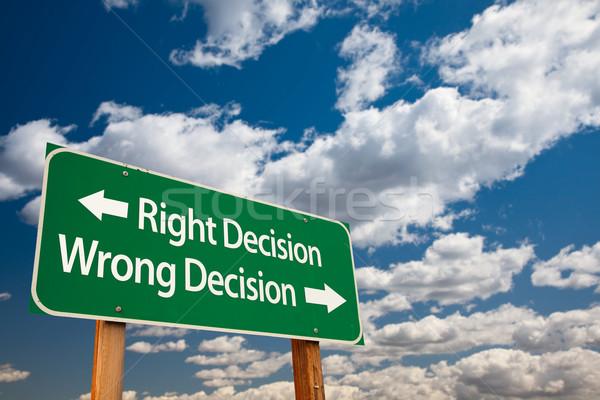 Сток-фото: право · решение · зеленый · дорожный · знак · скопировать