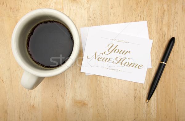 Stock fotó: új · otthon · jegyzet · kártya · toll · kávé · kávéscsésze