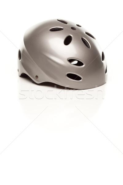 Silver Bike Helmet on White Stock photo © feverpitch