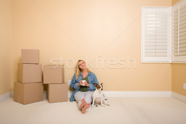Relaxing Woman and Dog Next to Boxes on Floor Stock photo © feverpitch