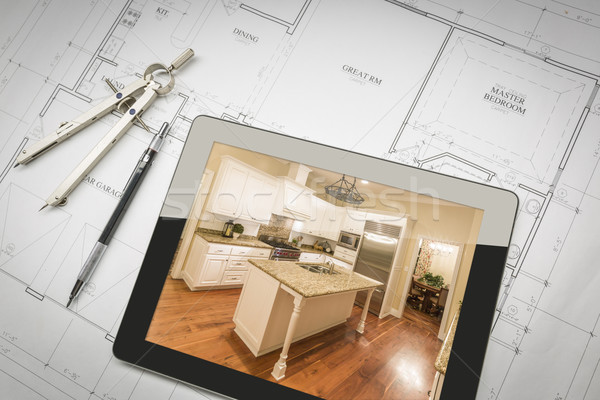 Computer Tablet Showing Finished Kitchen On House Plans, Pencil, Stock photo © feverpitch