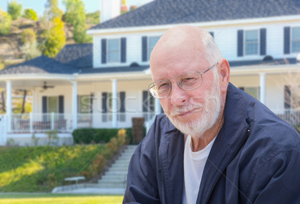 Senior Adult Man in Front of House Stock photo © feverpitch
