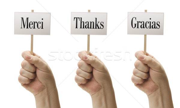 Three Signs In Fists Saying Merci, Thanks and Gracias Stock photo © feverpitch