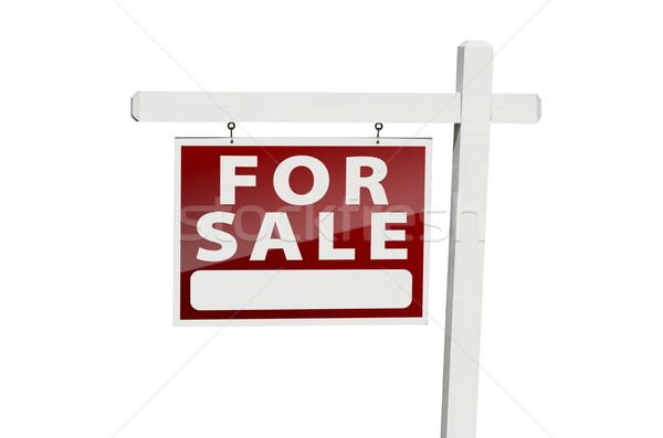 Stockfoto: Home · verkoop · onroerend · teken · witte · geïsoleerd
