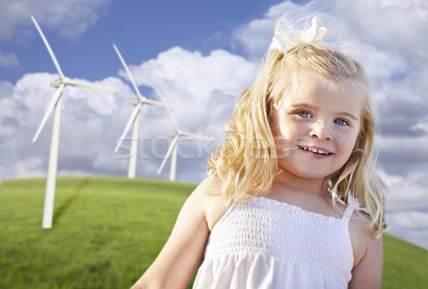 美しい 若い女の子 演奏 風力タービン フィールド 風力タービン ストックフォト © feverpitch