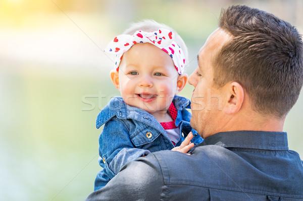 Stockfoto: Jonge · kaukasisch · vader · park · meisje