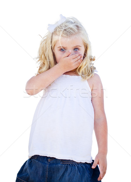 Blue Eyed Girl Covering Her Mouth Isolated Stock photo © feverpitch